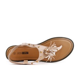Beige sandal with pompom in large size