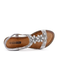 Large rhinestone silver sandal