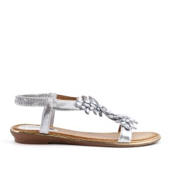 Silver sandal with large flowers