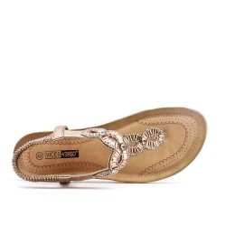 Golden sandal with rhinestones in large size