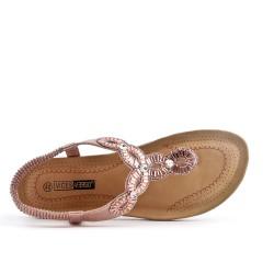 Large rhinestone champagne sandal