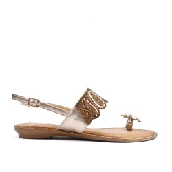 Golden sandal with toe ring in large size