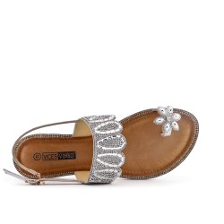 Silver sandal with toe ring in large size