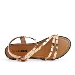 Golden sandal studded in large size