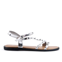 Studded silver sandal in large size