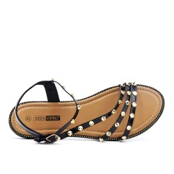 Black sandal with studs in large size