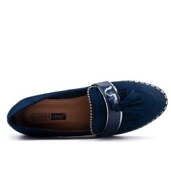 Blue moccasin with pompom