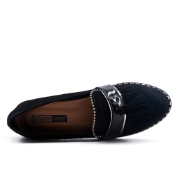 black moccasin with pompom