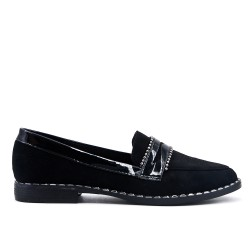 Flocked black loafer