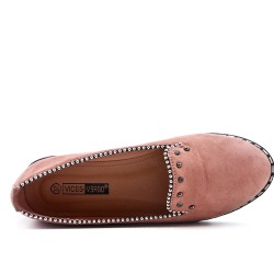 Pink moccasin in faux suede