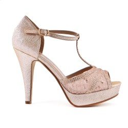 Lace detail champagne sandal with heel