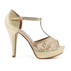 Sandale dorée à détail dentelle avec talon