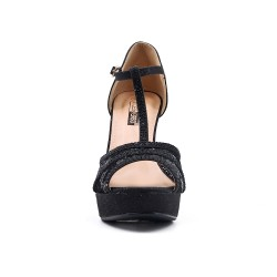 Black lace detail sandal with heel