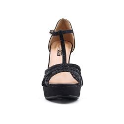 Sandale noire à détail dentelle avec talon