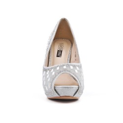 Silver shoe with rhinestones and heel