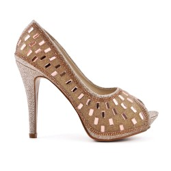 Champagne pump with rhinestones and heel