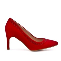 Red pumps in faux suede heel