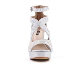 Sandale argent ornée de perle à talon