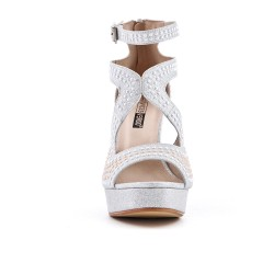 Silver sandal with pearl heel