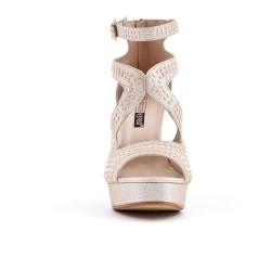 Sandale dorée ornée de perle à talon