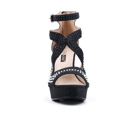 Black sandal with beaded heel