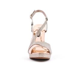 Sandale dorée brillante à talon haut