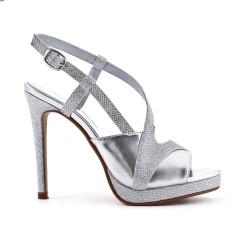 Sandale argent brillante à talon haut