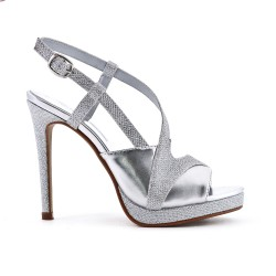 Shiny silver sandal with high heels
