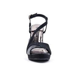 Black glossy high heel sandal