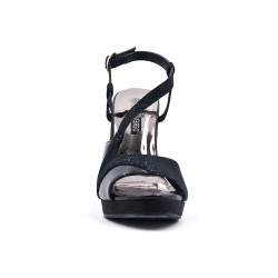 Sandale noire brillante à talon haut