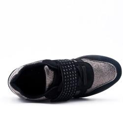 Basket noire à bride ornée de strass