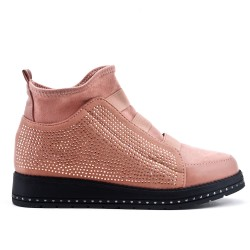 Pink ankle boot with rhinestones