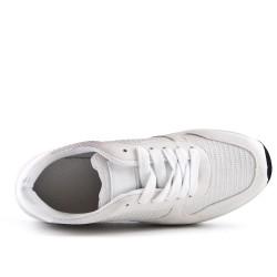 Basket blanche bi-matière à lacet