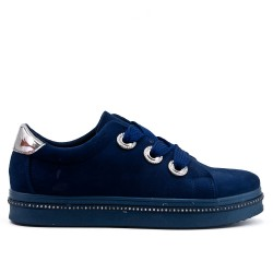Navy blue sneaker in faux suede with lace