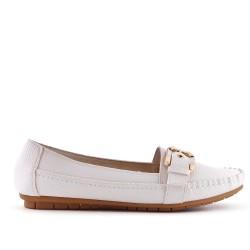 Grande taille - Chaussure confort blanche en simili cuir