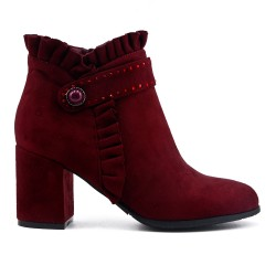 Burgundy ankle boot in faux suede with heel