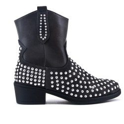 Gray ankle boot with studs