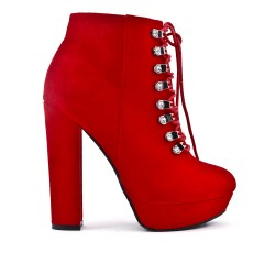 Red ankle boot in faux suede with heel