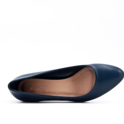 Escarpin bleu en simili cuir