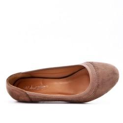 Escarpin kaki en simili daim à talon