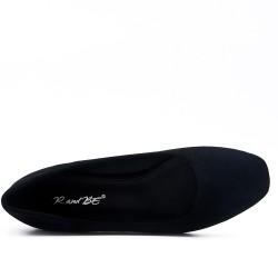 Black faux suede pump with rhinestones in heel