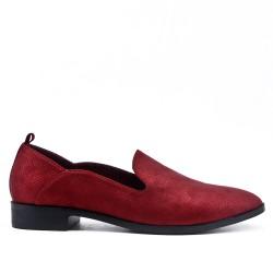 Mocassin confort rouge en simili cuir