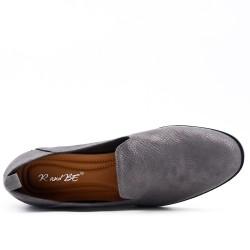 Mocassin confort gris en simili cuir