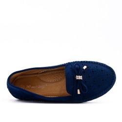 Mocassin confort bleu en simili daim à nœud