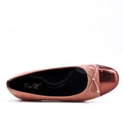 Pink bi-material ballerina