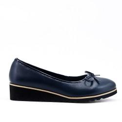 Chaussure bleu à petit compensé