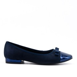 Blue two-material ballerina