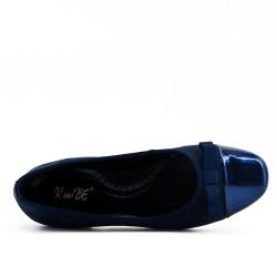Ballerine bi-matière bleu