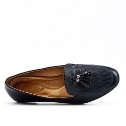 black moccasin with pompom