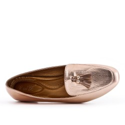 Champagne loafer with pompom